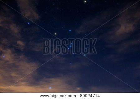Night cloudy and starry sky