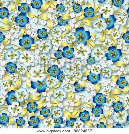 Abstract White Floral Ornament On Blue