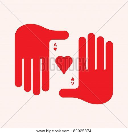 Man's Hand Holding an Ace of Hearts