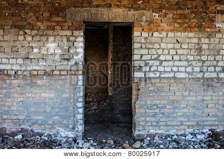 Door Aperture Inside The Old Ruined Brick Building