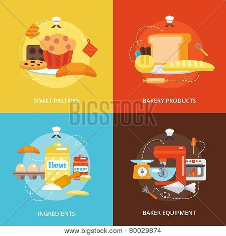 Bakery flat icons set