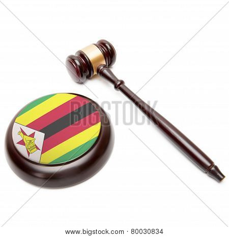 Judge Gavel And Soundboard With National Flag On It - Zimbabwe