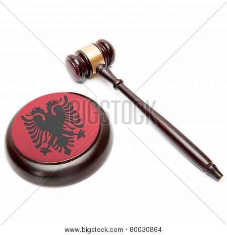 Judge Gavel And Soundboard With National Flag On It - Albania