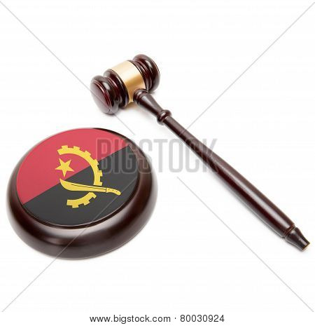 Judge Gavel And Soundboard With National Flag On It - Angola