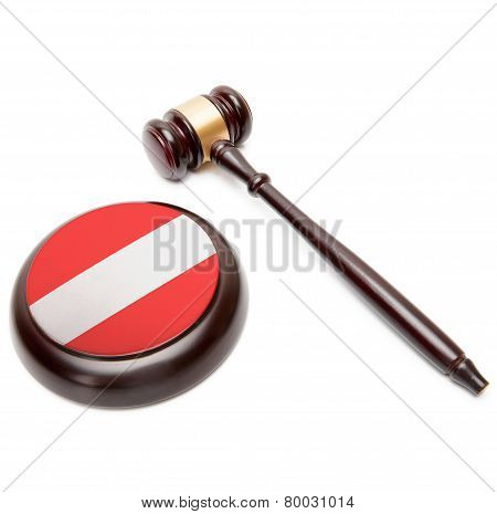 Judge Gavel And Soundboard With National Flag On It - Austria