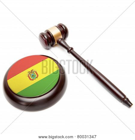 Judge Gavel And Soundboard With National Flag On It - Bolivia