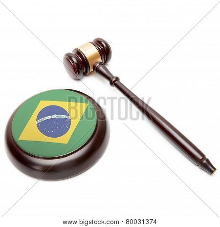 Judge Gavel And Soundboard With National Flag On It - Brazil