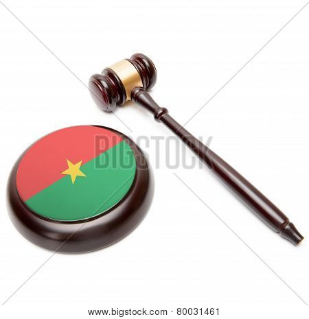 Judge Gavel And Soundboard With National Flag On It - Burkina Faso