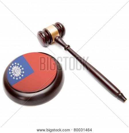 Judge Gavel And Soundboard With National Flag On It - Burma