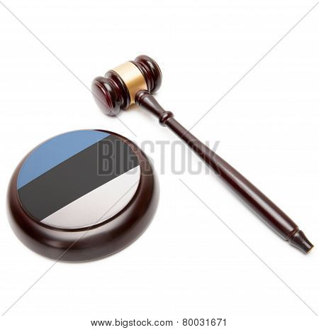 Judge Gavel And Soundboard With National Flag On It - Estonia
