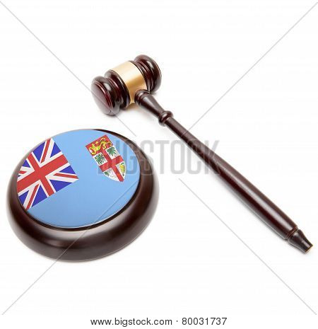 Judge Gavel And Soundboard With National Flag On It - Fiji