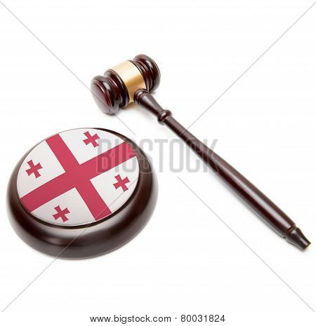 Judge Gavel And Soundboard With National Flag On It - Georgia