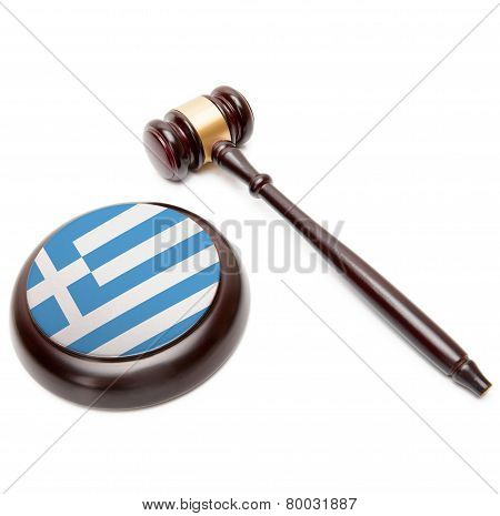 Judge Gavel And Soundboard With National Flag On It - Greece