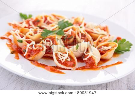 past with tomato sauce and cheese