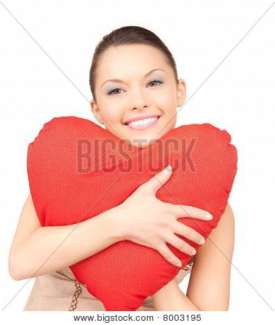 Woman With Red Heart-shaped Pillow Over White