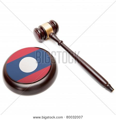 Judge Gavel And Soundboard With National Flag On It - Laos