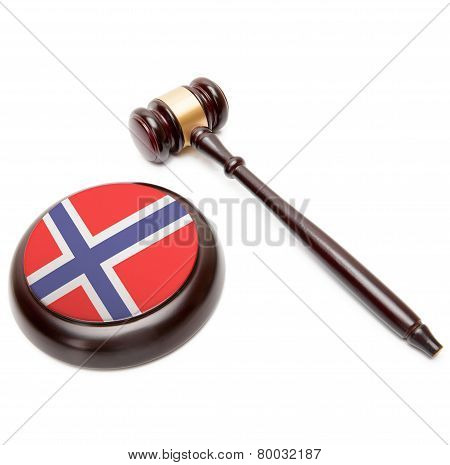 Judge Gavel And Soundboard With National Flag On It - Norway