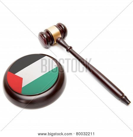 Judge Gavel And Soundboard With National Flag On It - Palestine