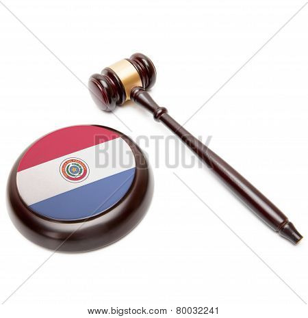 Judge Gavel And Soundboard With National Flag On It - Paraguay
