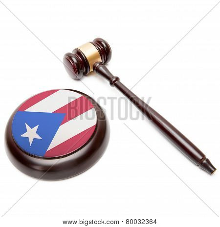 Judge Gavel And Soundboard With National Flag On It - Puerto Rico