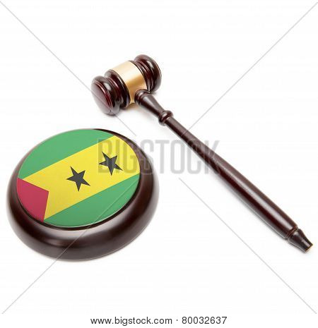 Judge Gavel And Soundboard With National Flag On It - Democratic Republic Of