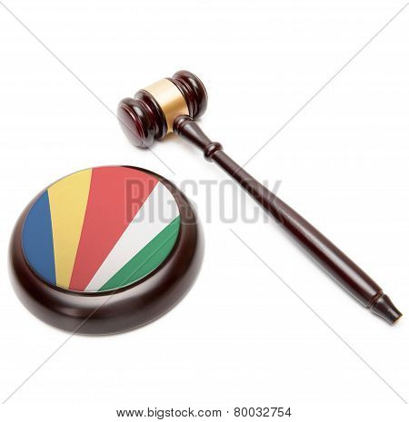 Judge Gavel And Soundboard With National Flag On It - Seychelles
