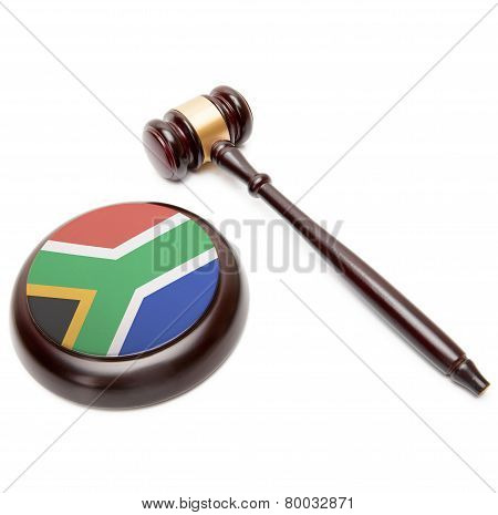 Judge Gavel And Soundboard With National Flag On It - Republic Of South Africa