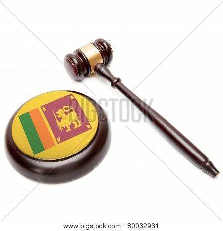 Judge Gavel And Soundboard With National Flag On It - Sri Lanka