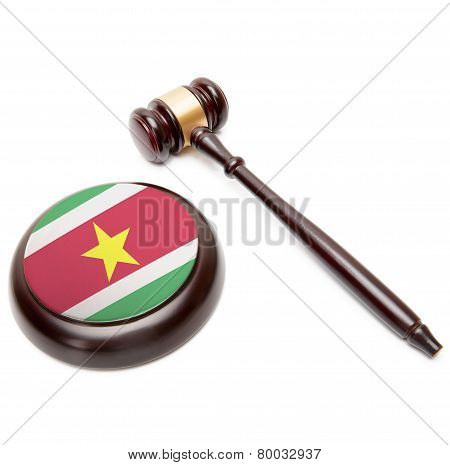 Judge Gavel And Soundboard With National Flag On It - Surinam