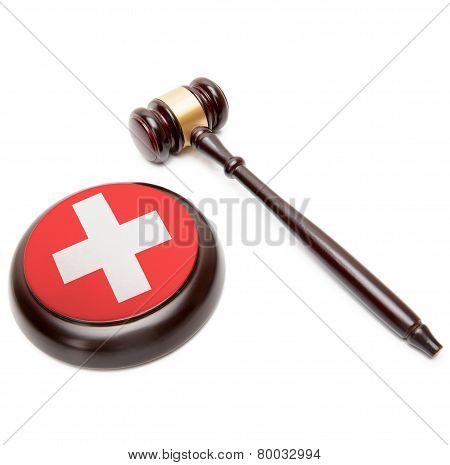 Judge Gavel And Soundboard With National Flag On It - Switzerland