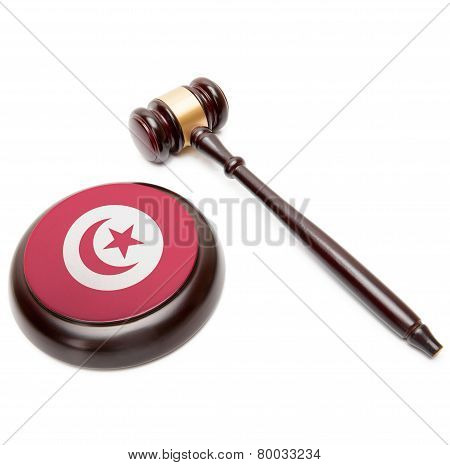 Judge Gavel And Soundboard With National Flag On It - Tunisia