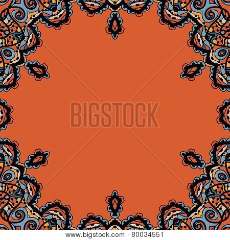 Ornamental round frame in tribal orintal style. Vinatge design element.