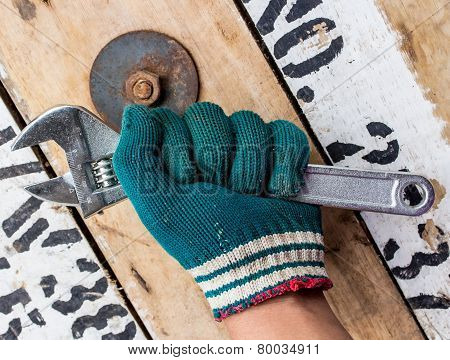 Mechanic Was Holding A Wrench.the Background Is So Nuts On A Wooden Floor.