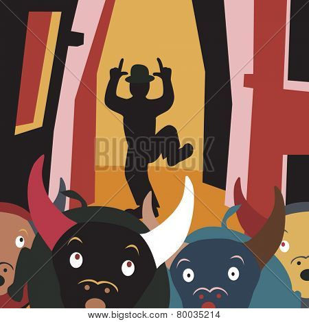 Cartoon illustration of bulls running away from a man in a street festival