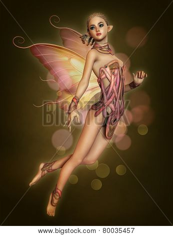 Floating Pink Fairy, 3D Cg, dark background