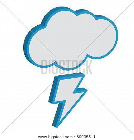 Cloud with lightning weather forecast vector icon.EPS10
