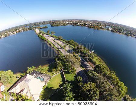 Road Cutting Through Lakes Aerial View