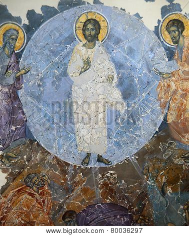 frescoe in Church of the Transfiguration of Our Savior, Novgorod, Russia,