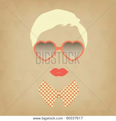 Hipster Girl And Heart-shaped Glasses