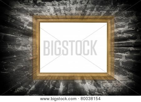 Gold Wooden Frame With Light Beams