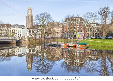 Zwolle skyline reflecting in canal