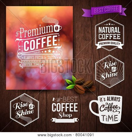 Premium coffee advertising poster and coffee beans. Set of typog