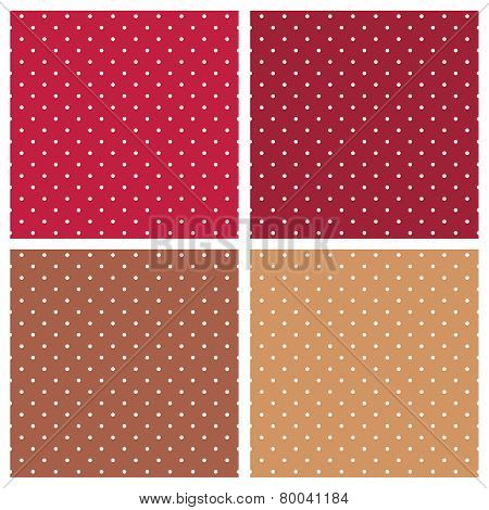 Polka dots white, red and brown vector background set