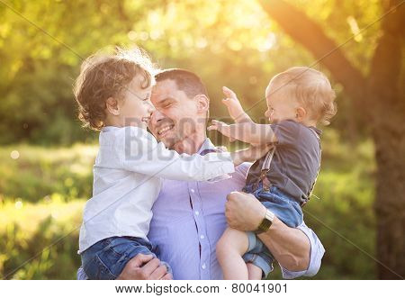 Little boys with their dad