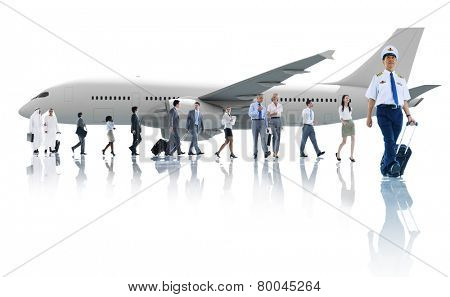 Travel Business People Cabin Crew Transportation Airplane Concept