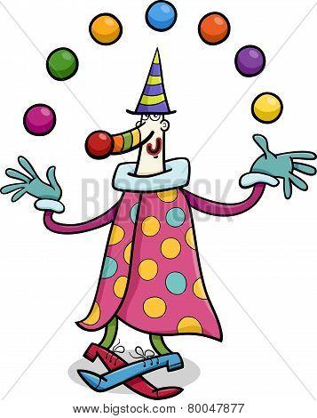 Circus Clown Juggler Cartoon Illustration