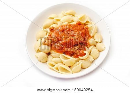 Pasta Shells Topped With Bolognese Sauce