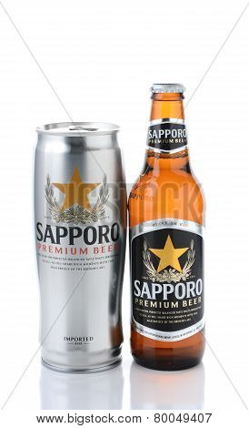 Sapporo Bottle And Can On White