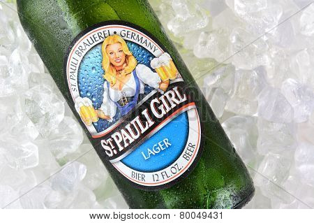 St Pauli Girl Beer Bottle On Ice