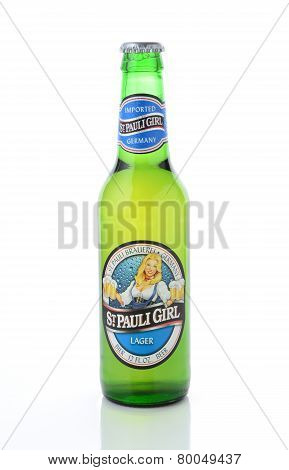 St Pauli Girl Beer Bottle On White